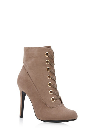 Lace Up Grommets High Heel Bootie,TAUPE,large