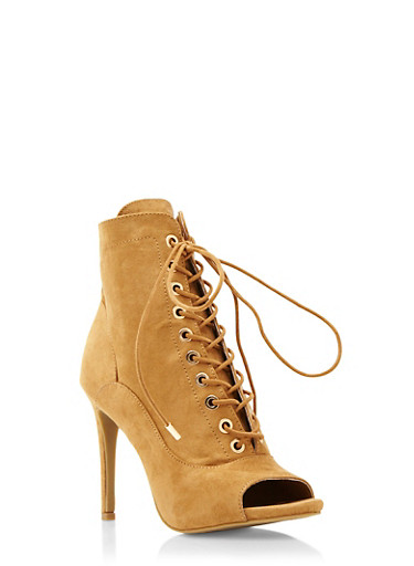 Faux Suede Lace-Up Ankle Boots with Open Toes,NATURAL,large