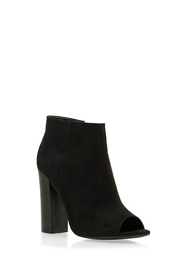 Faux Suede Peep Toe Ankle Boots,BLACK,large