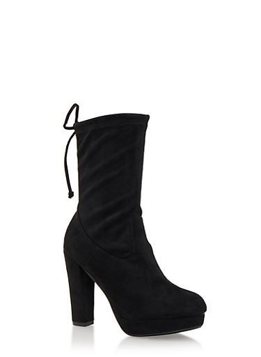 Faux Suede Mid-Calf Platform Boots with Cinch Top,BLACK,large