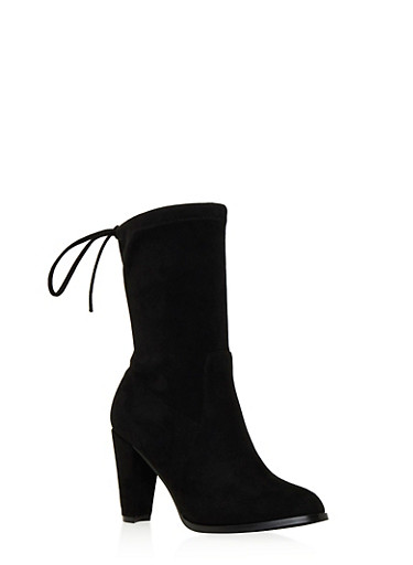 Faux Suede Mid-Calf Boots with Cinch Top,BLACK,large