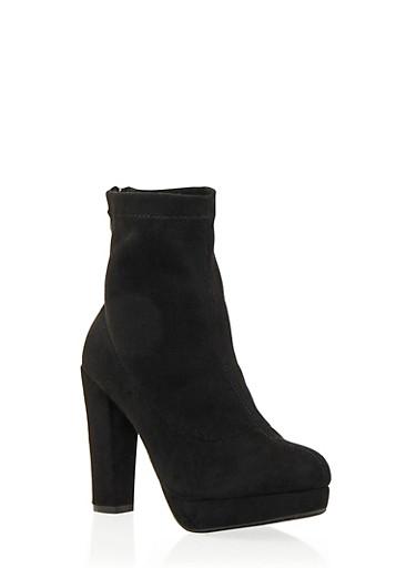 Faux Suede Platform Ankle Boots,BLACK,large