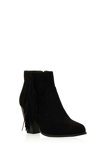 Faux Suede Ankle Boots with Fringe Accent,BLACK,large