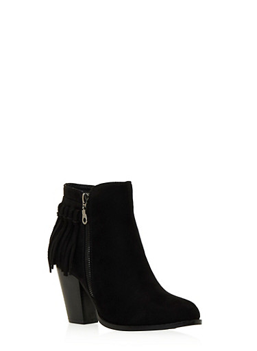 Faux Suede Ankle Boots with Fringe Trim,BLACK,large