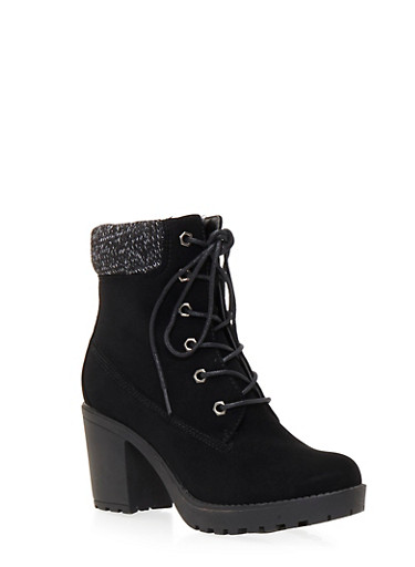Faux Leather Ankle Boots with Knit Paneling,BLACK,large