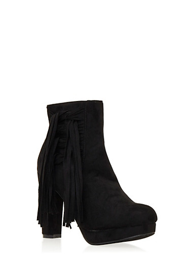 Faux Suede Platform Ankle Boots with Fringe Accent,BLACK,large