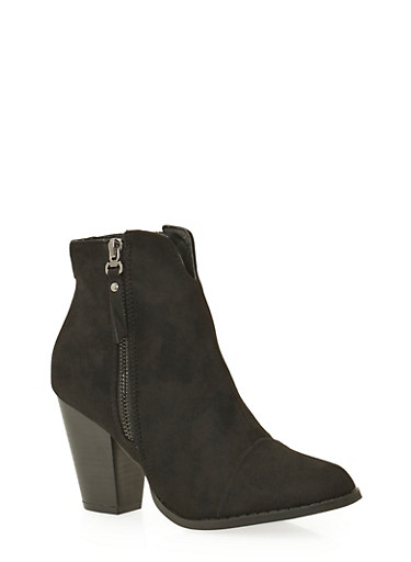 Faux Suede Ankle Boots with Side Zip Accents,BLACK,large