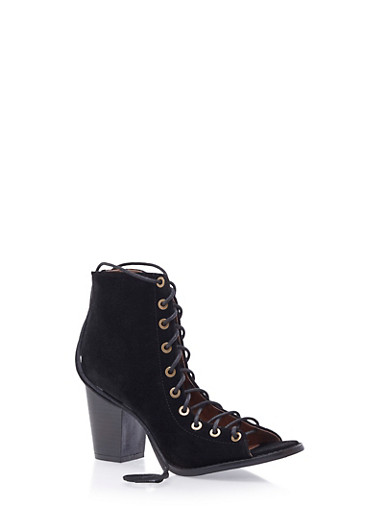 Faux Suede Lace-Up Ankle Boots with Open Toes,BLACK,large