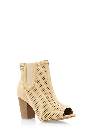 Perforated Faux Suede Ankle Boots,BEIGE,large