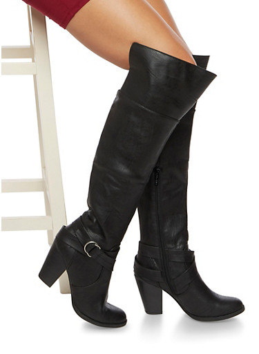Over The Knee Boots with Wrap Around Accents,BLACK,large
