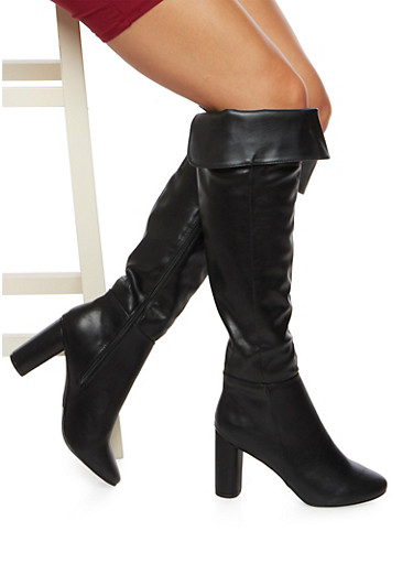 Knee High Boots with Fold Over Paneling,BLACK,large