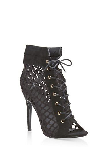 Fishnet Lace Up Booties,BLACK,large