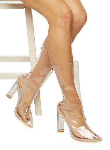 Clear Pointed Toe Boots,TRANSPARENT,large