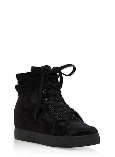 Crushed Velvet High Top Wedge Sneakers,BLACK VELVET,large