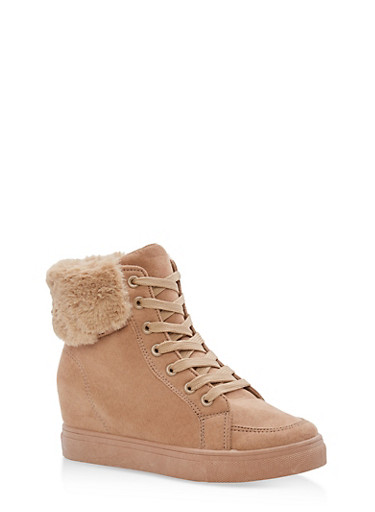 Faux Fur Lined High Top Wedge Sneakers,CAMEL F/S,large