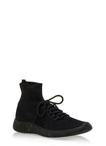 Tubular Sock Knit High Top Sneakers,BLACK KNIT,large