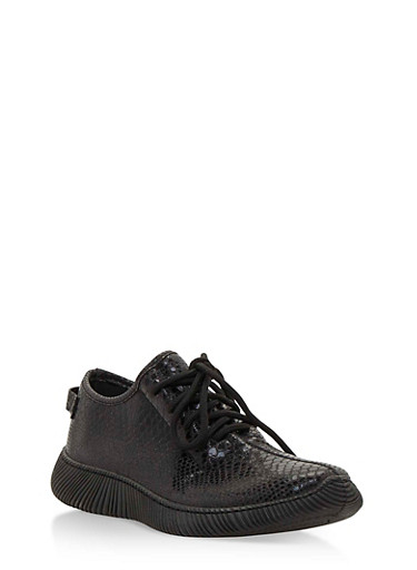 Snake Print Lace Up Sneakers,BLACK SNAKE,large