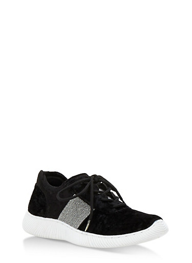 Crushed Velvet Athletic Sneakers,BLACK VELVET,large
