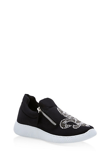 Satin Fleur De Lis Jeweled Sneakers,BLACK SATIN,large