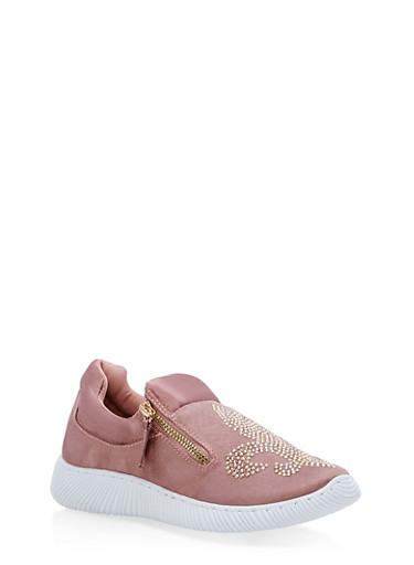 Satin Fleur De Lis Jeweled Sneakers,MAUVE SATIN,large