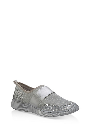 Stretch Slip On Sneakers with Elastic Band,SILVER FABRIC,large