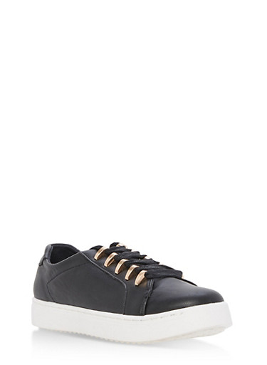 Lace Up Metal Trim Tennis Sneakers,,large