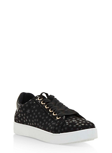 Lace Up Low Top Sneakers,BLACK STR,large