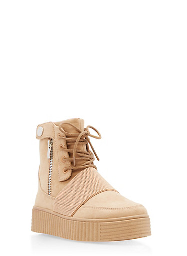 High Top Side Buckle Faux Suede Creeper Boots,TAN F/S,large