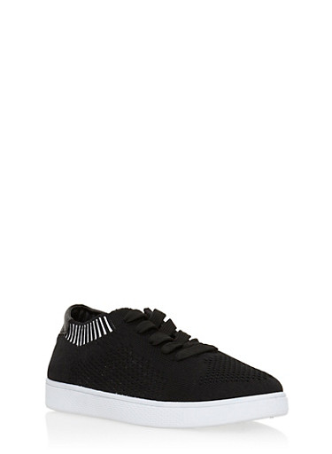Lace Up Knit Sneakers,BLACK KNIT,large