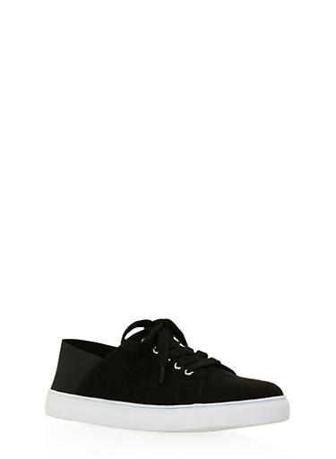 Elastic Heel Lace Up Sneakers,BLACK/BLACK,large