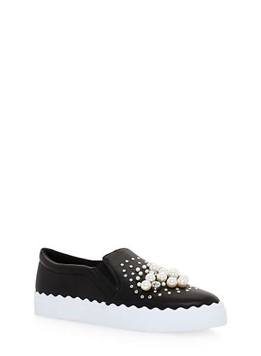 Faux Pearl Rhinestone Studded Slide On Sneakers,BLACK CRP,large