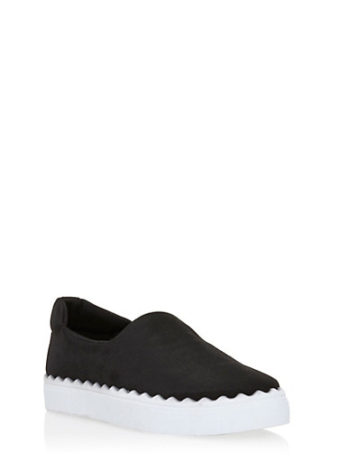 Solid Slip On Sneakers,BLACK LYC,large