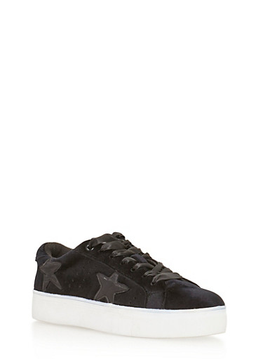 Velvet Star Lace Up Sneakers,BLACK VLT,large