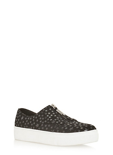 Zip Slip On Sneakers,BLACK STR,large