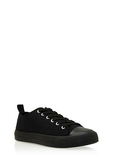 Knit Sneakers with Cap Toe,BLACK,large