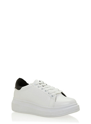 Platform Sneakers with Contrast Counter Paneling,WHITE,large