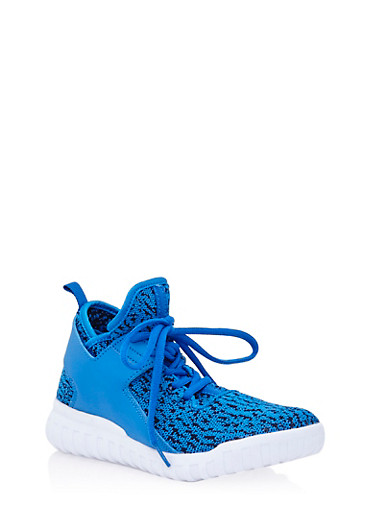 Textured Knit Sneakers with Faux Leather Trim,BLUE,large