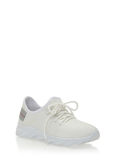 Textured Knit White Sole Sneakers,WHITE SOLID,large