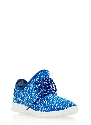 Knit Sneakers with Grosgrain Pull Tab,BLUE/WHITE,large