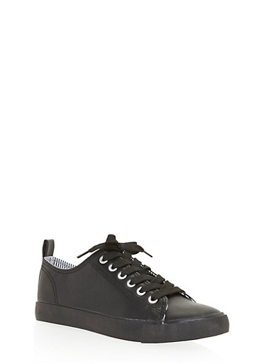 Lace Up Canvas Sneakers,BLACK,large