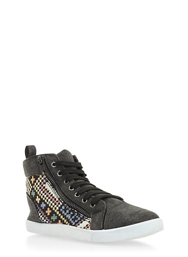 Aztec Print High-Top Sneakers with Size Zip Accent,BLACK,large