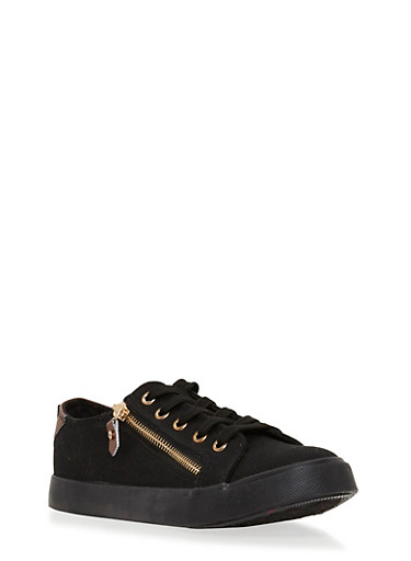 Lace Up Canvas Sneakers with Zipper Detail,BLACK,large