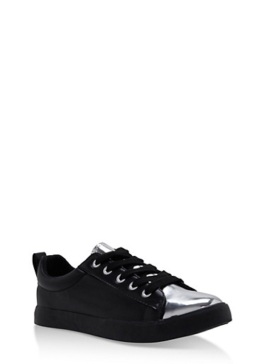 Patent Toe Lace Up Sneakers,BLACK,large
