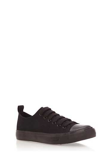 Low Top Sneakers with Rubber Sole,BLACK/BLACK/BLACK/WHITE,large