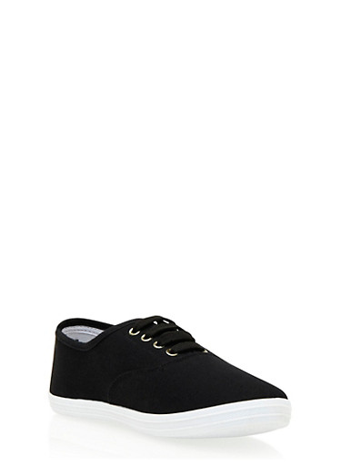 Knit Low-Top Sneakers with Round Toes,BLACK,large