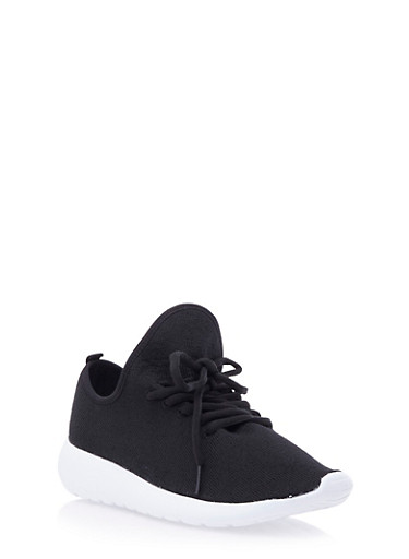 Knit Sneakers with Pleated Tongue,BLACK,large
