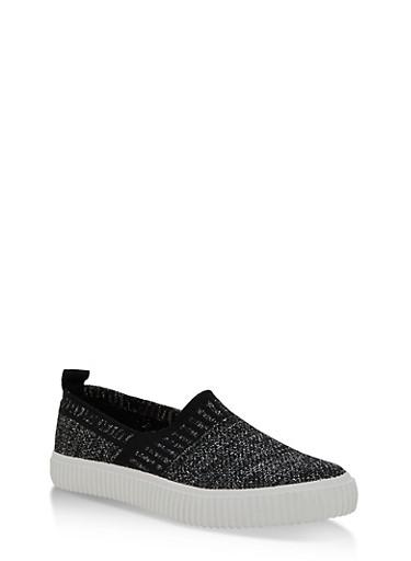 Stretch Shimmer Knit Slip On Sneakers,BLACK,large