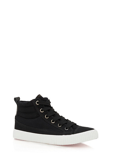 High Top Lace Up Padded Sneakers,BLACK CANVAS,large