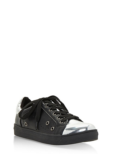 Metallic Faux Leather Lace Up Sneakers,BLACK/SILVER,large