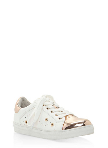 Metallic Faux Leather Lace Up Sneakers,WHITE/ROSE GOLD,large